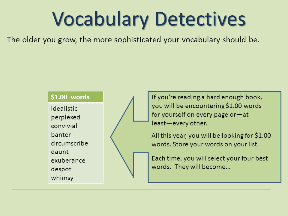 Vocabulary Detectives The older you grow, the more sophisticated your vocabulary should be.