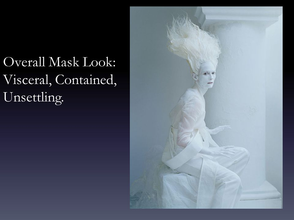 Overall Mask Look: Visceral, Contained, Unsettling.