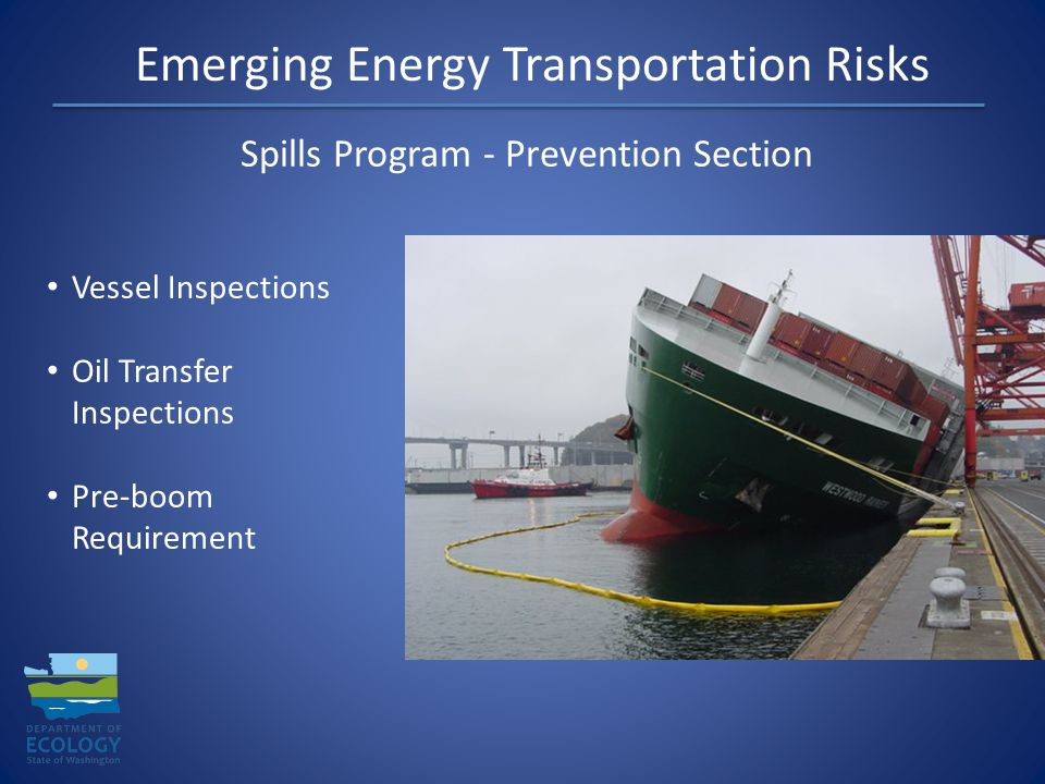 Emerging Energy Transportation Risks Spills Program - Preparedness Section Contingency Plan Approval Industry Drill Program Response Contractor Approval NW Area Contingency Plan Geographic Response Plans