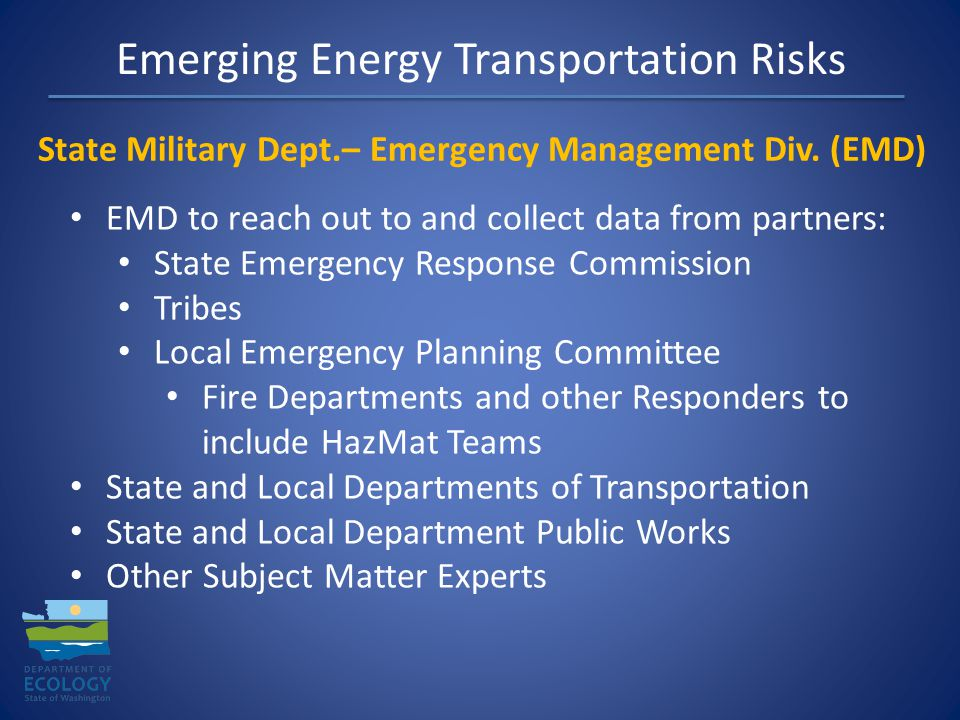 Emerging Energy Transportation Risks State Military Dept.– Emergency Management Div.
