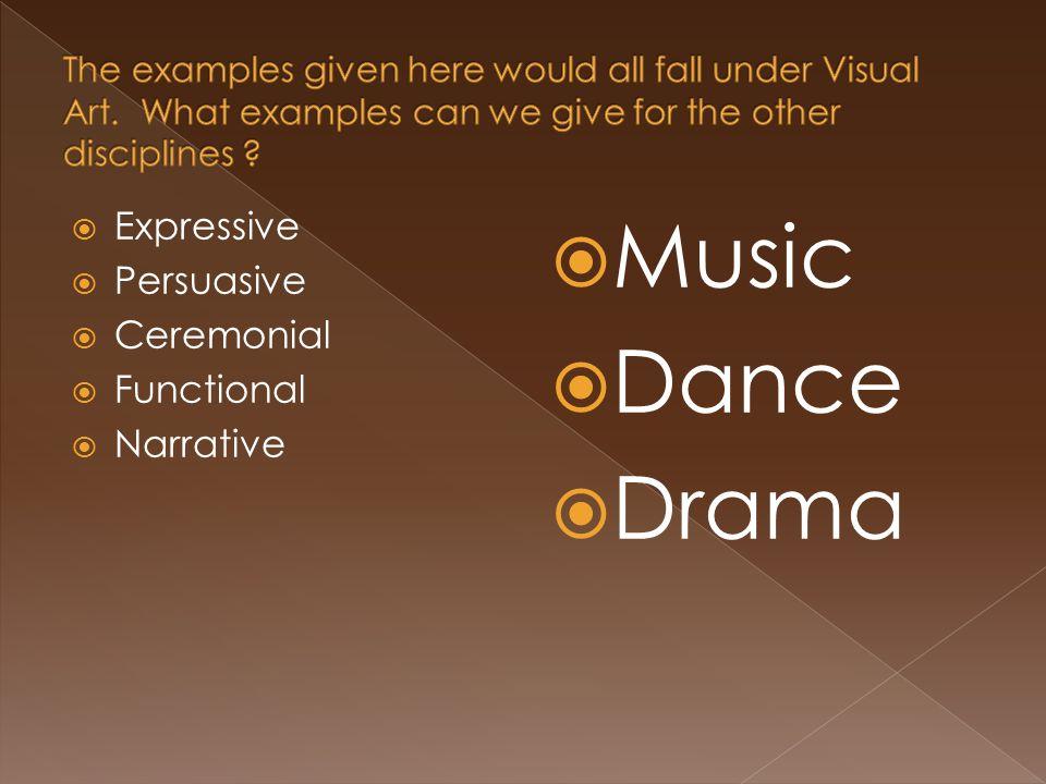  Expressive  Persuasive  Ceremonial  Functional  Narrative  Music  Dance  Drama
