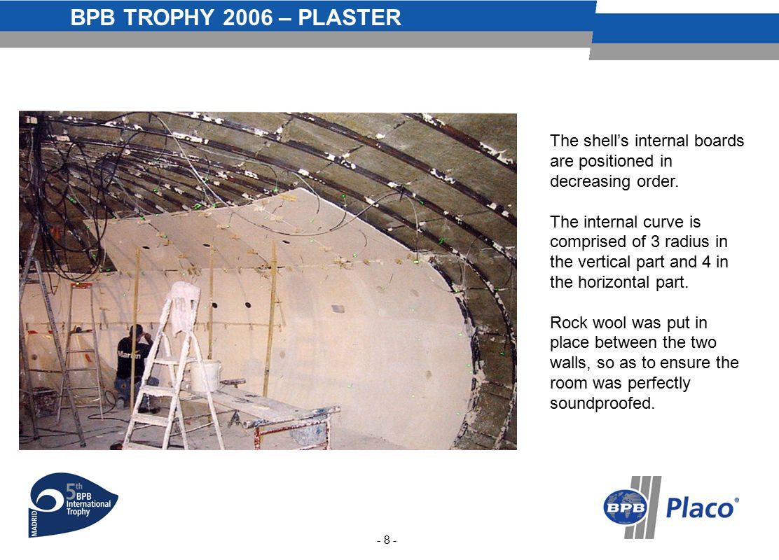 BPB TROPHY 2006 – PLASTER - 8 - The shell's internal boards are positioned in decreasing order.