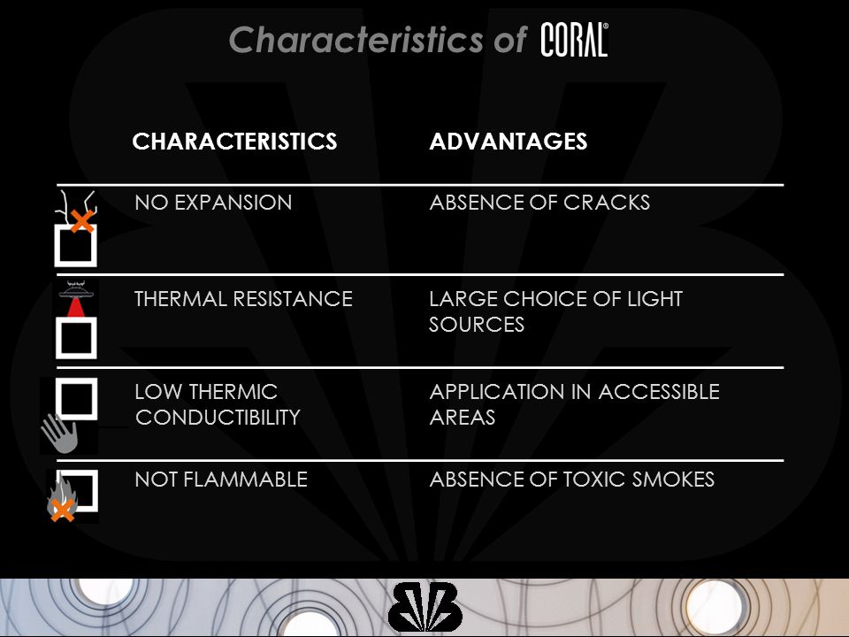 THERMAL RESISTANCELARGE CHOICE OF LIGHT SOURCES CHARACTERISTICSADVANTAGES NO EXPANSIONABSENCE OF CRACKS LOW THERMIC ______ CONDUCTIBILITY APPLICATION IN ACCESSIBLE AREAS NOT FLAMMABLEABSENCE OF TOXIC SMOKES Characteristics of