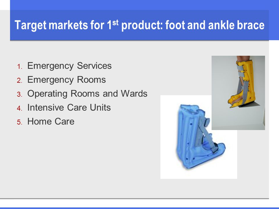 Target markets for 1 st product: foot and ankle brace 1. Emergency Services 2. Emergency Rooms 3. Operating Rooms and Wards 4. Intensive Care Units 5.