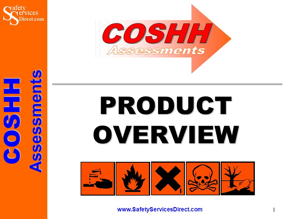 COSHHAssessments www.SafetyServicesDirect.com 2 Construction COSHH Assessments This presentation has been prepared to provide users and potential purchasers of the Construction COSHH Assessments software with a brief overview of the product and the benefits it offers