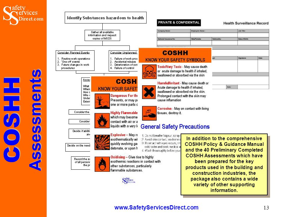 COSHHAssessments www.SafetyServicesDirect.com 13 In addition to the comprehensive COSHH Policy & Guidance Manual and the 40 Preliminary Completed COSHH Assessments which have been prepared for the key products used in the building and construction industries, the package also contains a wide variety of other supporting information.