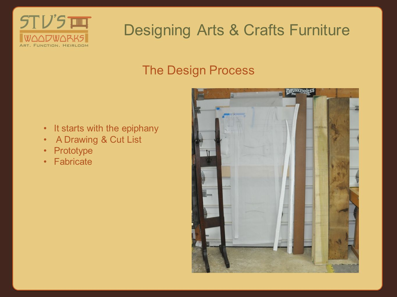 The Design Process Designing Arts & Crafts Furniture It starts with the epiphany A Drawing & Cut List Prototype Fabricate