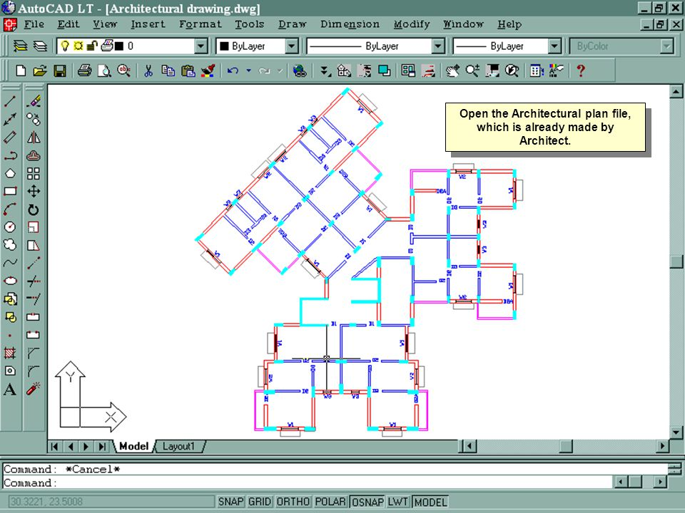 Open the Architectural plan file, which is already made by Architect.