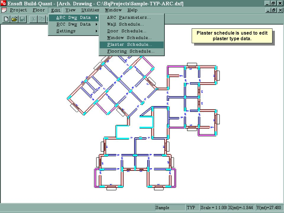 Plaster schedule is used to edit plaster type data.
