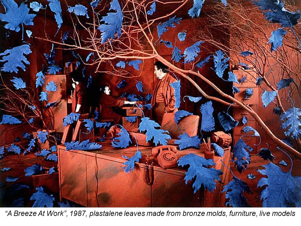 A Breeze At Work , 1987, plastalene leaves made from bronze molds, furniture, live models