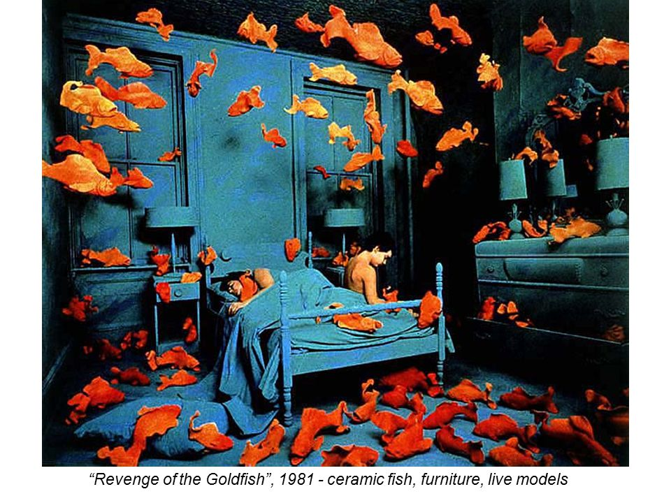 Revenge of the Goldfish , 1981 - ceramic fish, furniture, live models