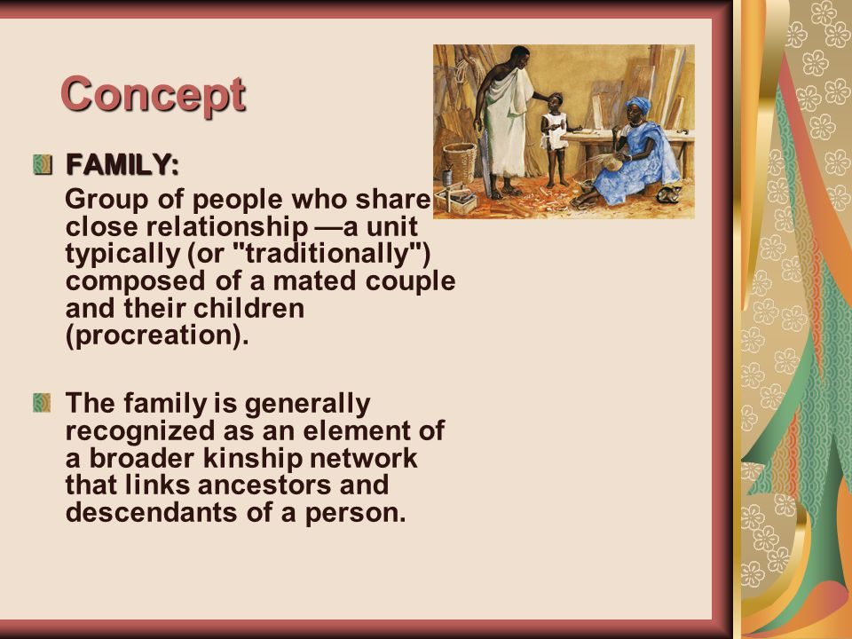 Concept FAMILY: Group of people who share a close relationship —a unit typically (or traditionally ) composed of a mated couple and their children (procreation).
