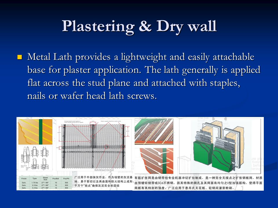 Plastering & Dry wall Metal Lath provides a lightweight and easily attachable base for plaster application.