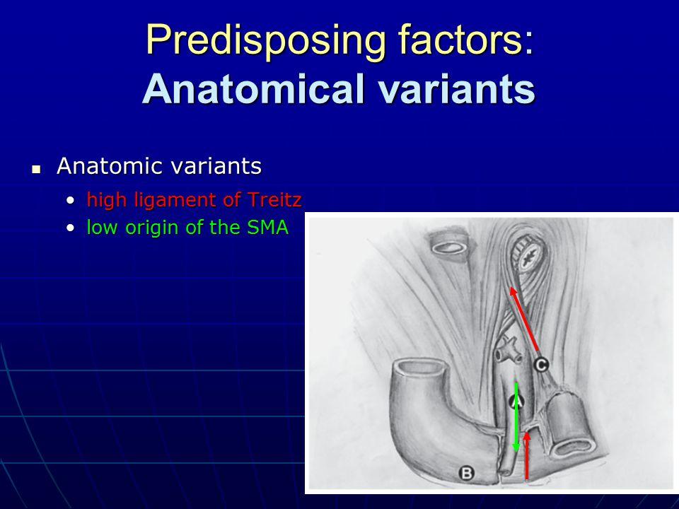 Predisposing factors: Anatomical variants Anatomic variants Anatomic variants high ligament of Treitzhigh ligament of Treitz low origin of the SMAlow