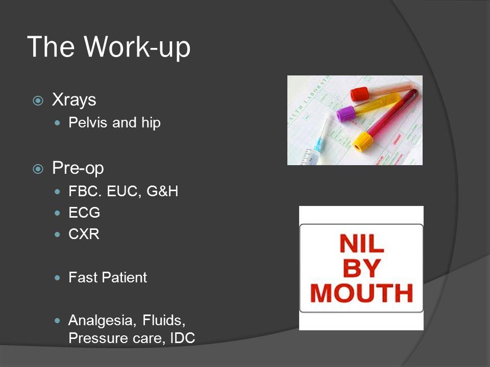 The Work-up  Xrays Pelvis and hip  Pre-op FBC. EUC, G&H ECG CXR Fast Patient Analgesia, Fluids, Pressure care, IDC