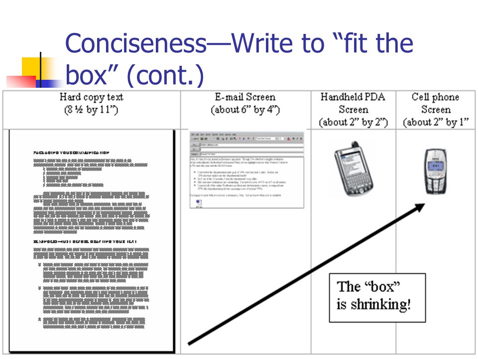 11 Conciseness—Write to fit the box (cont.)