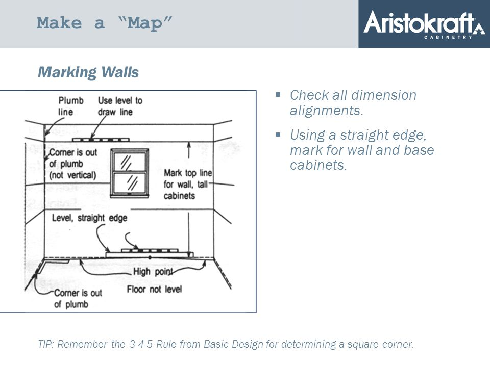 Make a Map Marking Walls  Check all dimension alignments.