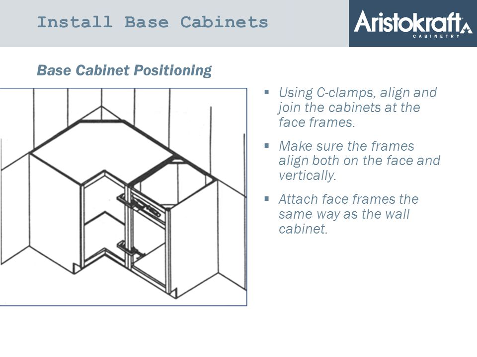 Install Base Cabinets Base Cabinet Positioning  Using C-clamps, align and join the cabinets at the face frames.