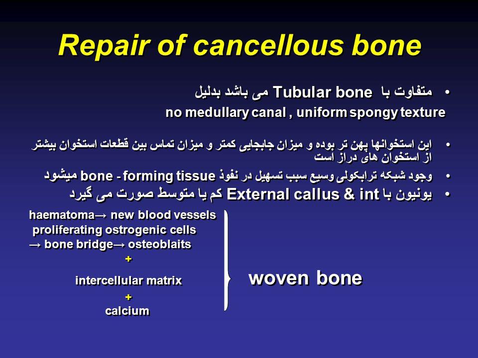 Repair of cancellous bone متفاوت با Tubular bone می باشد بدلیل no medullary canal, uniform spongy texture این استخوانها پهن تر بوده و میزان جابجایی کمتر و میزان تماس بین قطعات استخوان بیشتر از استخوان های دراز است وجود شبکه ترابکولی وسیع سبب تسهیل در نفوذ forming tissue - bone میشود یونیون با External callus & int کم یا متوسط صورت می گیرد haematoma→ new blood vessels proliferating ostrogenic cells → bone bridge→ osteoblaits + intercellular matrix woven bone + calcium متفاوت با Tubular bone می باشد بدلیل no medullary canal, uniform spongy texture این استخوانها پهن تر بوده و میزان جابجایی کمتر و میزان تماس بین قطعات استخوان بیشتر از استخوان های دراز است وجود شبکه ترابکولی وسیع سبب تسهیل در نفوذ forming tissue - bone میشود یونیون با External callus & int کم یا متوسط صورت می گیرد haematoma→ new blood vessels proliferating ostrogenic cells → bone bridge→ osteoblaits + intercellular matrix woven bone + calcium