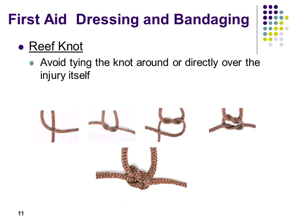 11 First Aid Dressing and Bandaging Reef Knot Avoid tying the knot around or directly over the injury itself (instructor to demonstrate broad-fold and