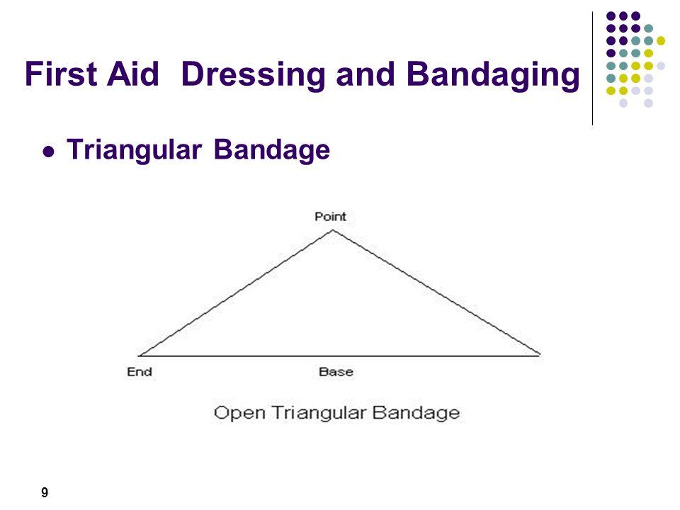 10 First Aid Dressing and Bandaging Triangular bandage Making a broad fold and narrow bandage (instructor to demonstrate broad-fold and narrow - fold bandage)