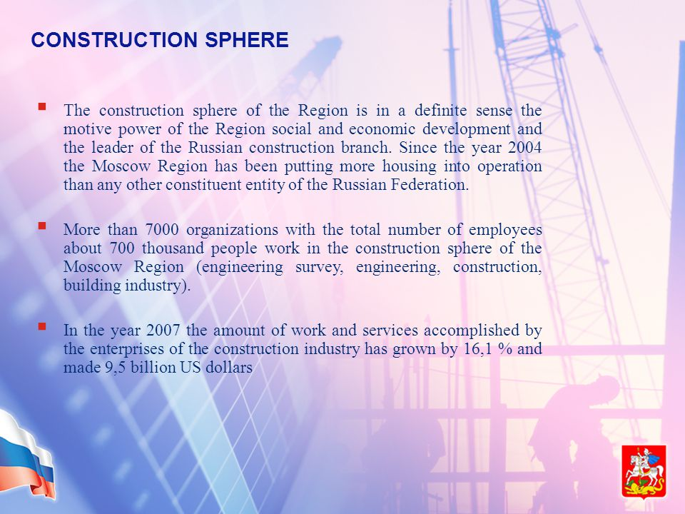 CONSTRUCTION SPHERE  The construction sphere of the Region is in a definite sense the motive power of the Region social and economic development and the leader of the Russian construction branch.