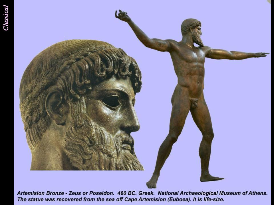 An exceptional bronze with arms fully extended, an achievement showing the advance made by only a generation of sculptors later, since the austere Archaic style.