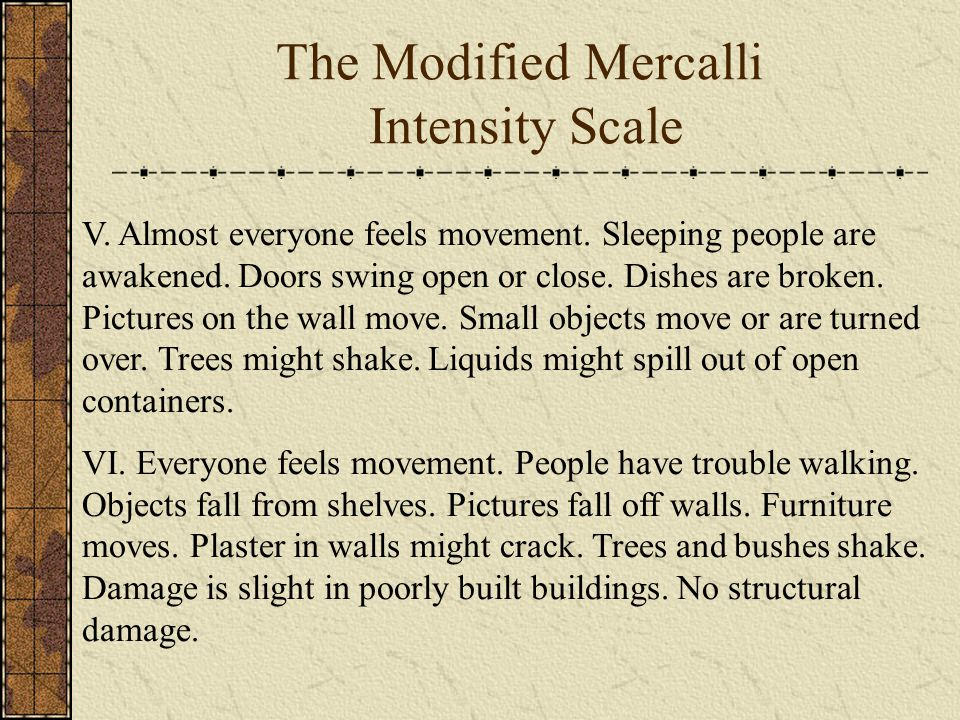 The Modified Mercalli Intensity Scale V. Almost everyone feels movement.
