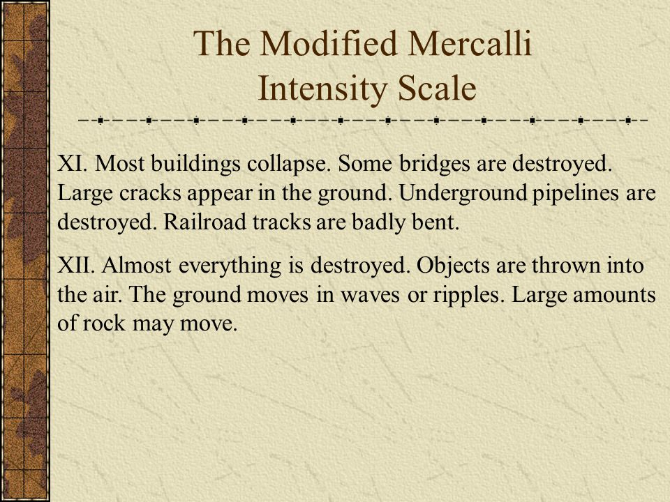 The Modified Mercalli Intensity Scale XI. Most buildings collapse.