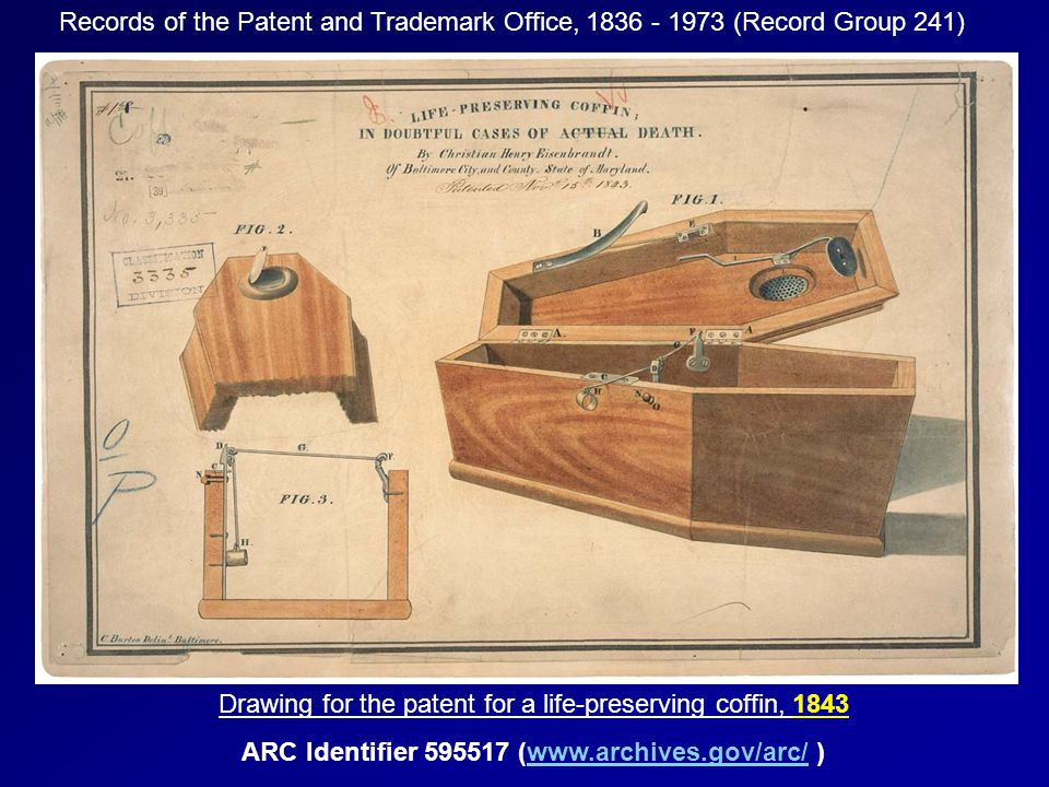 Records of the Patent and Trademark Office, 1836 - 1973 (Record Group 241) Drawing for the patent for a life-preserving coffin, 1843 ARC Identifier 59