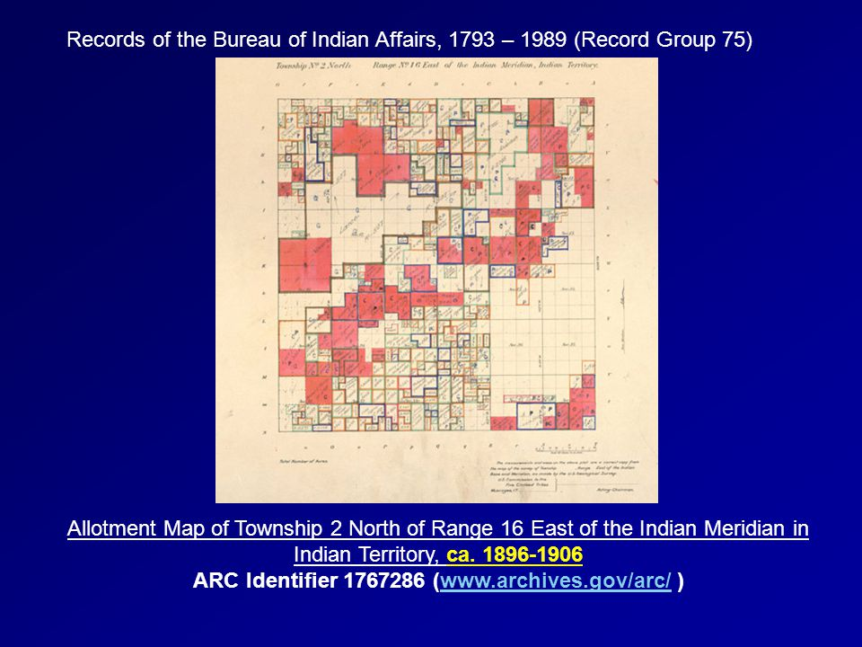 Records of the Bureau of Indian Affairs, 1793 – 1989 (Record Group 75) Allotment Map of Township 2 North of Range 16 East of the Indian Meridian in In