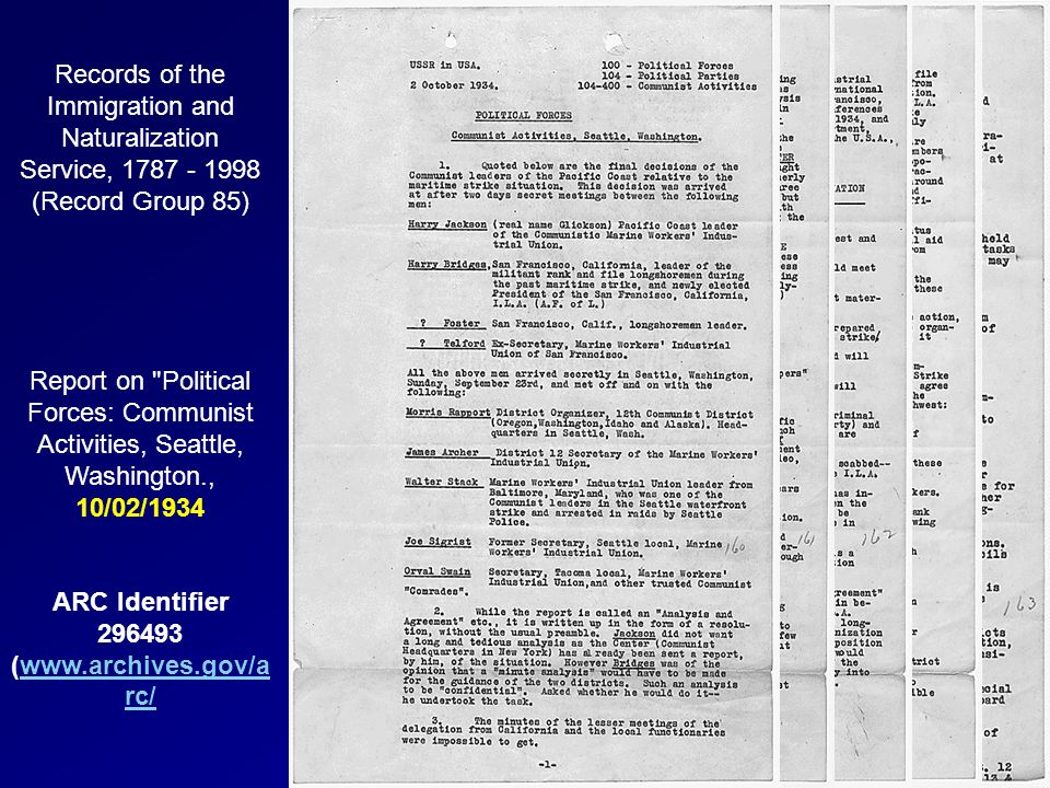 Records of the Immigration and Naturalization Service, 1787 - 1998 (Record Group 85) Report on