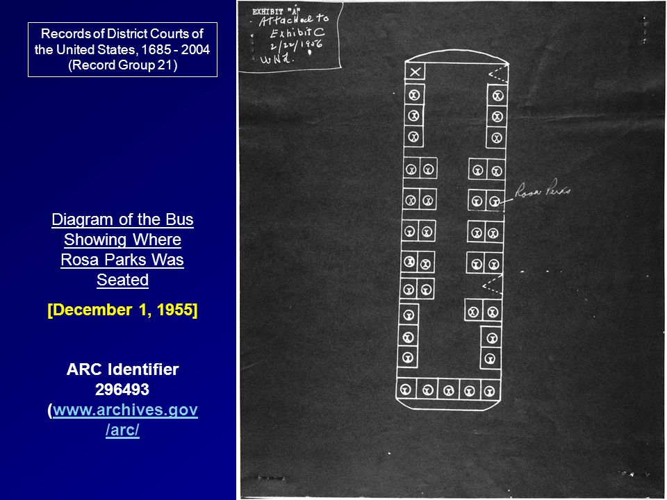 Records of District Courts of the United States, 1685 - 2004 (Record Group 21) Diagram of the Bus Showing Where Rosa Parks Was Seated [December 1, 195