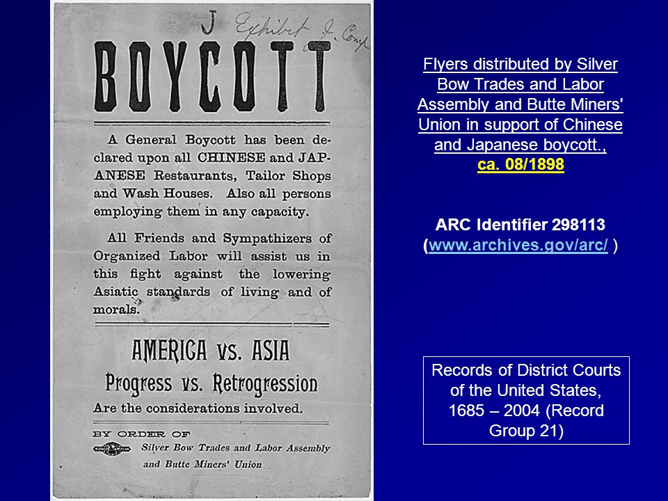 Flyers distributed by Silver Bow Trades and Labor Assembly and Butte Miners' Union in support of Chinese and Japanese boycott., ca. 08/1898 ARC Identi