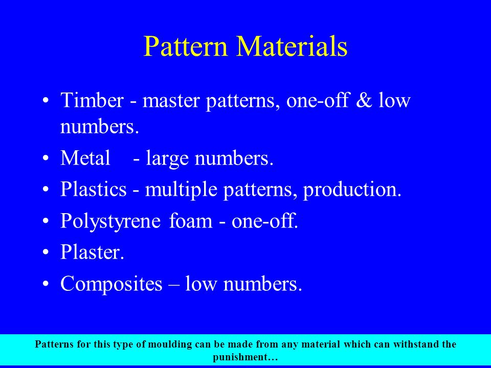 Pattern Materials Timber - master patterns, one-off & low numbers.