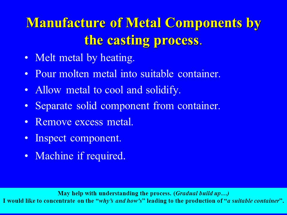 Manufacture of Metal Components by the casting process.