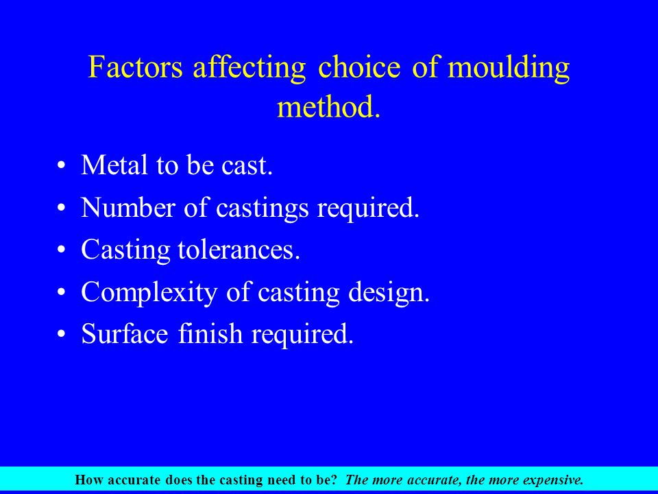 Factors affecting choice of moulding method.Metal to be cast.