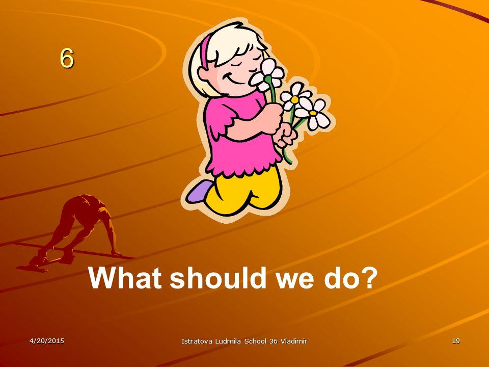 4/20/2015 Istratova Ludmila School 36 Vladimir 19 6 6 What should we do