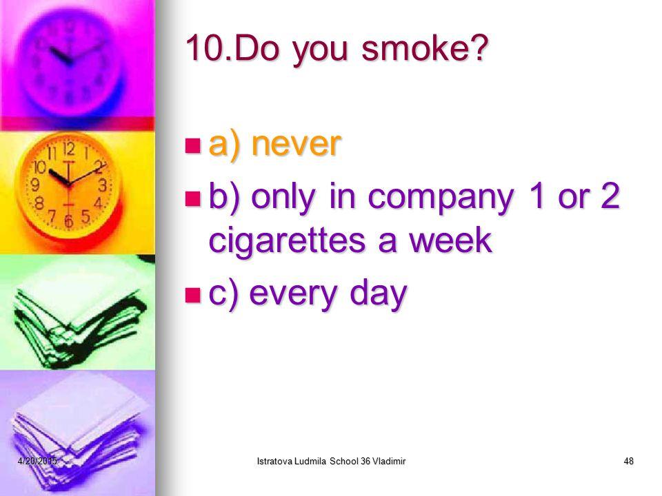 4/20/2015Istratova Ludmila School 36 Vladimir48 10.Do you smoke.