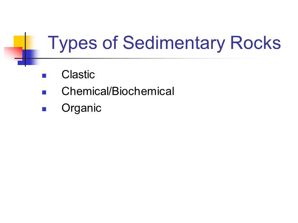 Types of Sedimentary Rocks Clastic Chemical/Biochemical Organic