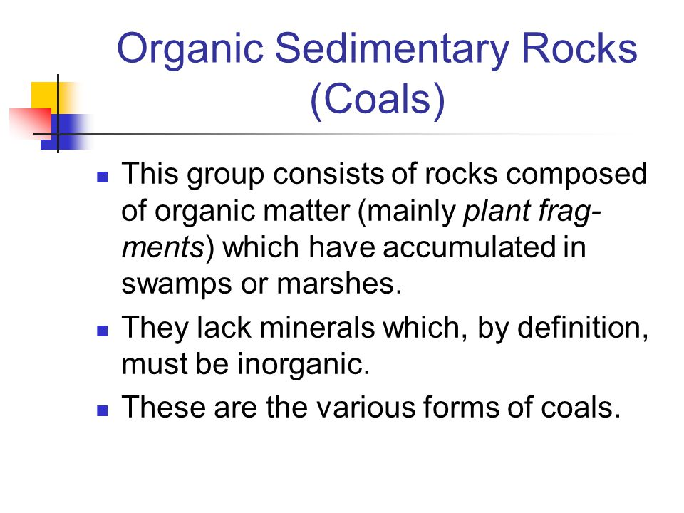 Organic Sedimentary Rocks (Coals) This group consists of rocks composed of organic matter (mainly plant frag- ments) which have accumulated in swamps