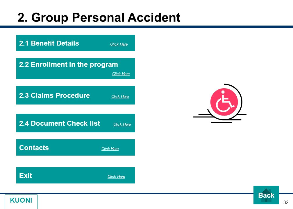 32 KUONI 2. Group Personal Accident 2.1 Benefit Details Click Here 2.2 Enrollment in the program Click Here Exit Click Here 2.3 Claims Procedure Click