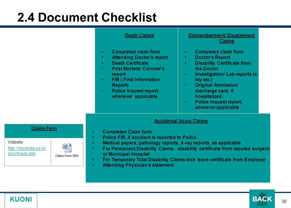 36 KUONI 2.4 Document Checklist Claims Form Website: http://newindia.co.in/ downloads.asp Death Claims Completed claim form Attending Doctor s report Death Certificate Post Mortem/ Coroner s report FIR ( First Information Report) Police Inquest report, wherever applicable Dismemberment/ Disablement Claims Completed claim form Doctor s Report Disability Certificate from the Doctor Investigation/ Lab reports (x- ray etc.) Original Admission/ discharge card, if hospitalized.