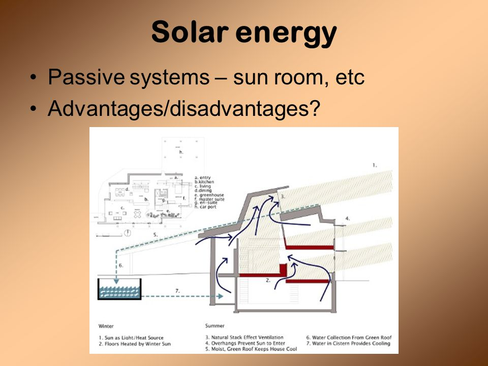 Solar energy Passive systems – sun room, etc Advantages/disadvantages