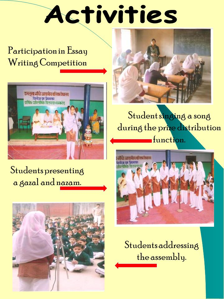 Participation in Essay Writing Competition Student singing a song during the prize distribution function.