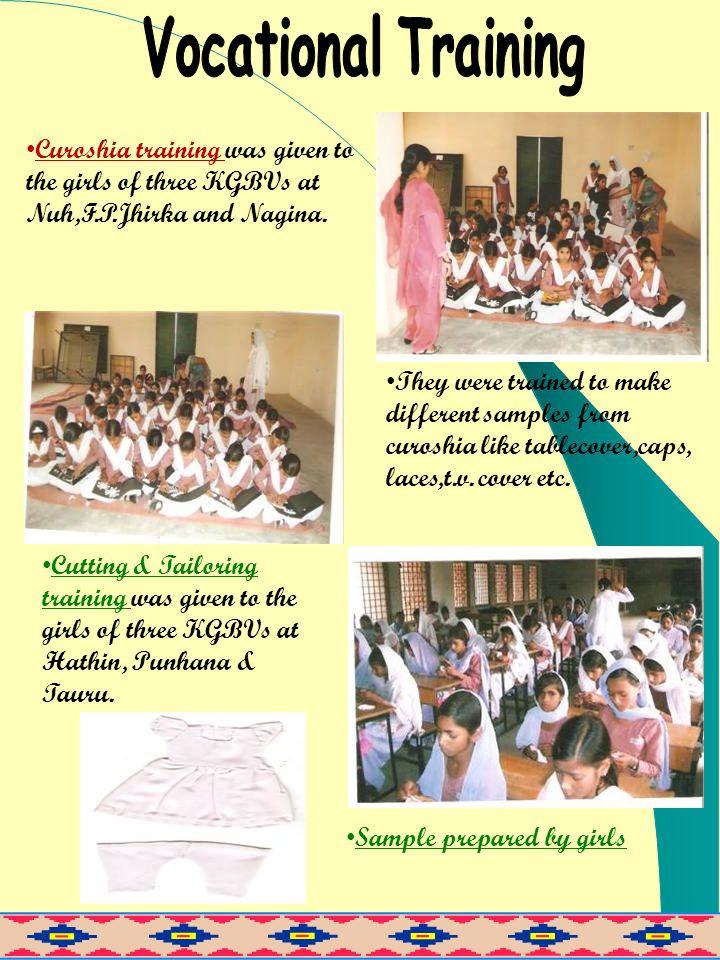 Curoshia training was given to the girls of three KGBVs at Nuh,F.P.Jhirka and Nagina.