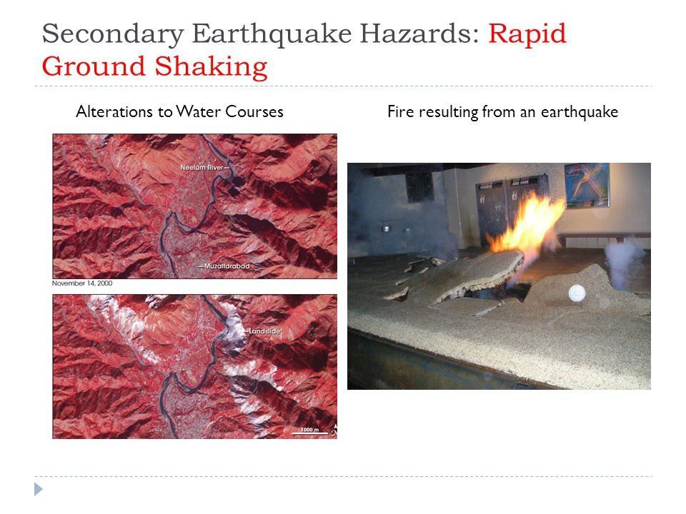 Secondary Earthquake Hazards: Rapid Ground Shaking Alterations to Water CoursesFire resulting from an earthquake