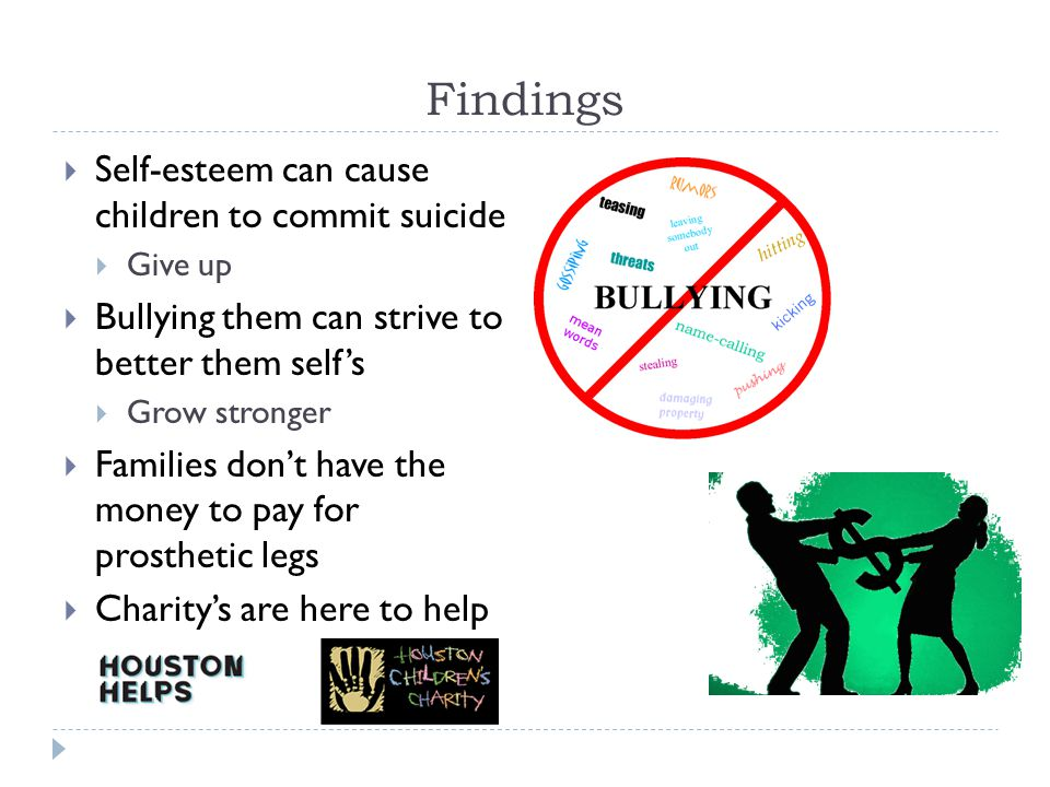 Findings  Self-esteem can cause children to commit suicide  Give up  Bullying them can strive to better them self's  Grow stronger  Families don't have the money to pay for prosthetic legs  Charity's are here to help