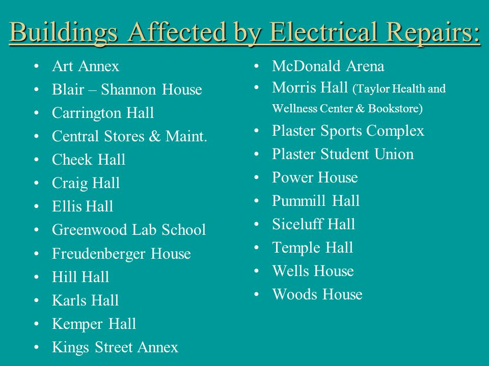 Buildings Affected by Electrical Repairs: Art Annex Blair – Shannon House Carrington Hall Central Stores & Maint.