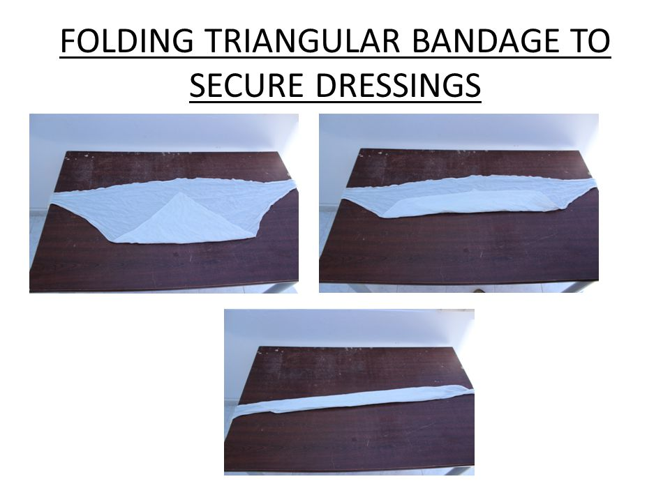 FOLDING TRIANGULAR BANDAGE TO SECURE DRESSINGS